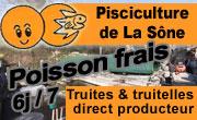 Pisciculture de la Sône : Vente directe producteur de poisson frais au détail : Truites et friture de truitelles - pays de Saint Marcellin - Isere